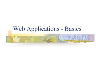 Web Applications - Basics