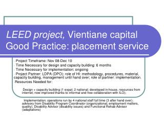 LEED project,  Vientiane capital Good Practice: placement service