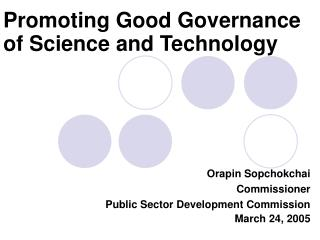 Promoting Good Governance of Science and Technology