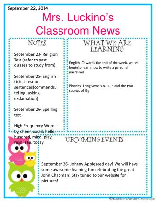 Mrs. Luckino's Classroom News