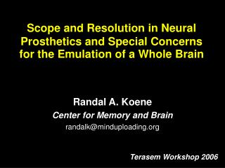 Scope and Resolution in Neural Prosthetics and Special Concerns for the Emulation of a Whole Brain