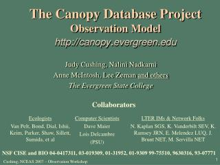 The Canopy Database Project Observation Model canopy . evergreen