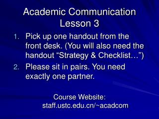 Academic Communication Lesson 3