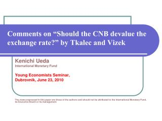 """Comments on """"Should the CNB devalue the exchange rate?"""" by Tkalec and Vizek"""