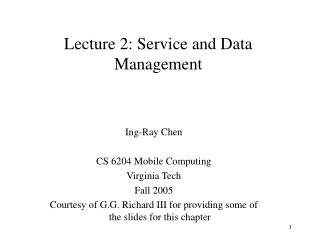 Lecture 2: Service and Data Management