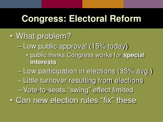 Congress: Electoral Reform