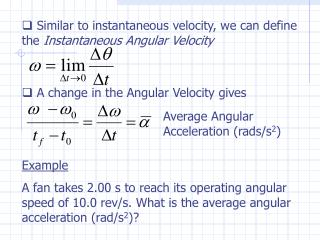 Average Angular Acceleration (rads/s 2 )