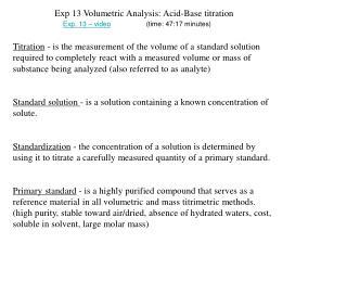 Exp 13 Volumetric Analysis: Acid-Base titration