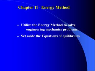 Chapter 11   Energy Method