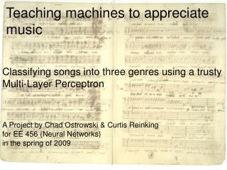 Teaching machines to appreciate music