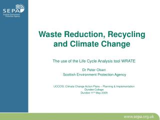 Waste Reduction, Recycling and Climate Change