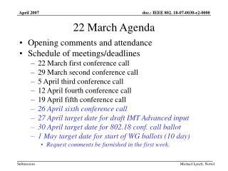 22 March Agenda
