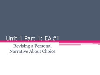 Unit 1 Part 1: EA #1