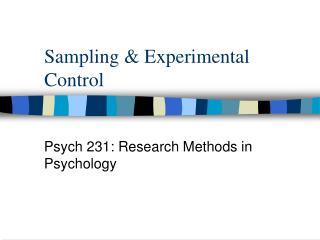 Sampling & Experimental Control