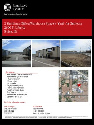 2 Buildings Office/Warehouse Space + Yard  for Sublease 2600 S. Liberty Boise, ID