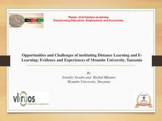 Theme: 21st Century eLearning Transforming Education, Employment, and Economies