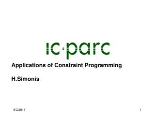 Applications of Constraint Programming  H.Simonis