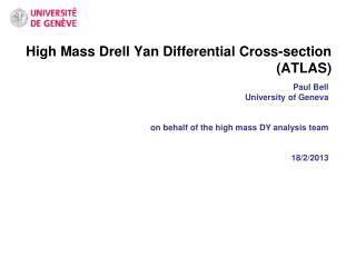 High Mass  Drell  Yan Differential Cross-section (ATLAS)