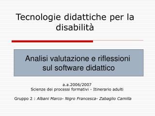 Tecnologie didattiche per la disabilit