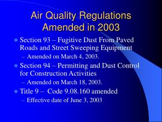 Air Quality Regulations Amended in 2003