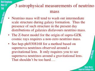 3 astrophysical measurements of neutrino mass