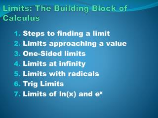 Limits: The Building Block of Calculus