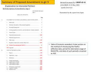 Summary of Proposed Amendment to gtr 9