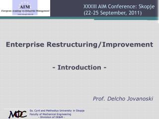 XXXIII AIM Conference: Skopje  (22-25 September, 2011)