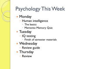 Psychology This Week