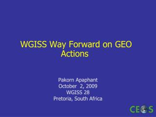 WGISS Way Forward on GEO Actions