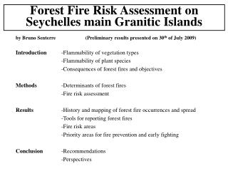 Forest Fire Risk Assessment on Seychelles main Granitic Islands