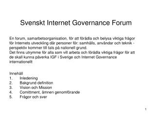 Svenskt Internet  Governance Forum