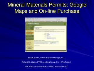 Mineral Materials Permits: Google Maps and On-line Purchase