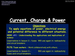 Current, Charge & Power