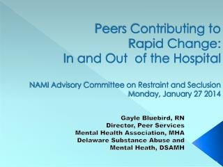 Gayle Bluebird, RN Director, Peer Services Mental Health Association, MHA