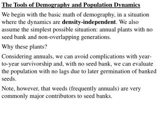 The Tools of Demography and Population Dynamics