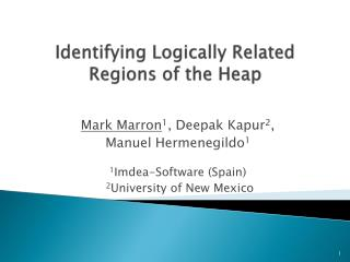 Identifying Logically Related Regions of the Heap