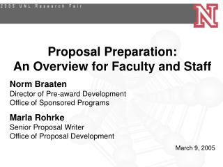Proposal Preparation: An Overview for Faculty and Staff