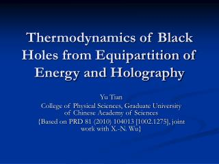Thermodynamics of Black Holes from Equipartition of Energy and Holography