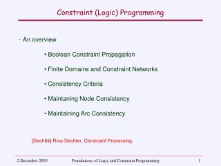 Constraint (Logic) Programming