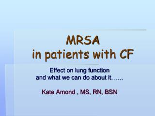 MRSA in patients with CF