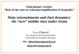 "Semi-plenary session:  ""Role of the state in reduction/amplification of inequality"""