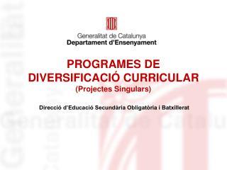 PROGRAMES DE DIVERSIFICACIÓ CURRICULAR (Projectes Singulars)