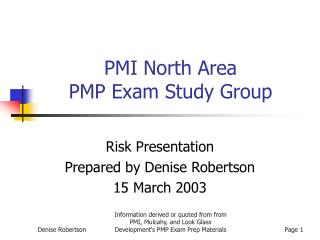 PMI North Area  PMP Exam Study Group