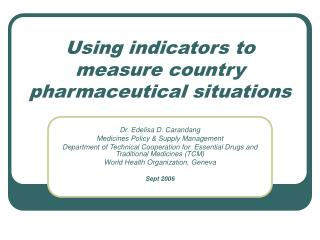 Using indicators to measure country pharmaceutical situations