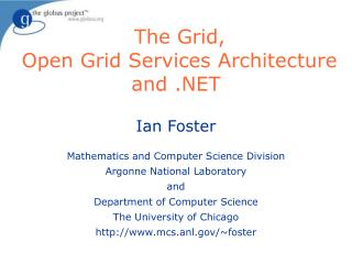 The Grid,  Open Grid Services Architecture and .NET