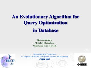 An Evolutionary Algorithm for Query Optimization in Database