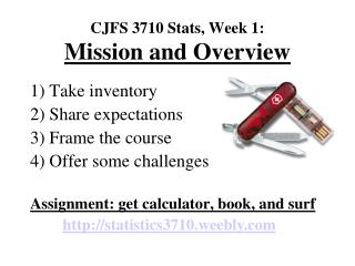 CJFS 3710 Stats, Week 1: Mission and Overview