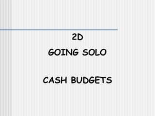 2D GOING SOLO CASH BUDGETS