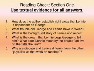 Reading Check: Section One Use textual evidence for all answers.